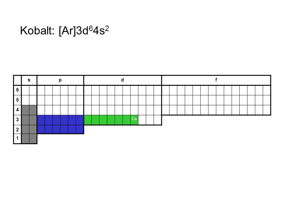 Kobalt: [Ar]3d64s2 s p d f 6 5 4 3 Co 2 1